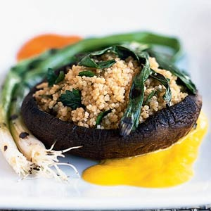 cous cous stuffed portabella mushrooms