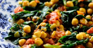 spinach, pea, chickpeas, carrot curry